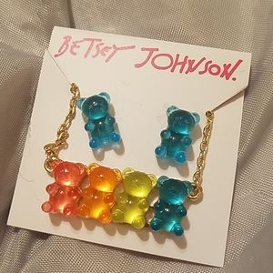 Betsey Johnson gummy bear necklace and earring